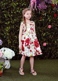 Wholesale Wlmonsoon vestidos de las muchachas de vestir Ropa de bebé embroma la flor del arco Lemeon impresión del chaleco vestidos de la liga americana europea