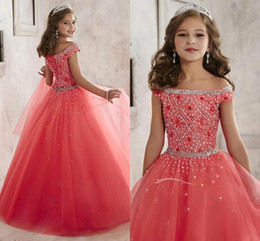 Wholesale Little Girls Pageant Dresses wear New Off Shoulder Crystal Beads Coral Tulle Formal Party Dress for teen Kids Flowers Girls Gowns A1796