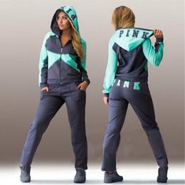 Wholesale Women s Tracksuit Letter Pink Print Sport Suit Hoodie Sweatshirt Pants Sweat Suits Sportswear Costume Jogging Femme