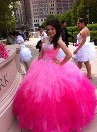 Wholesale 2016 precioso Debutante mascarada Quinceañera vestidos de novia de cristal organza tamaño vestidos de dulce del vestido de bola Vestidos de baile de color rosa
