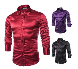 Wholesale fashion New men shirts Emulation silk shiny long sleeve dress shirt men s clothing slim fit casual shirts for men