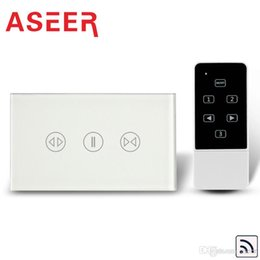 Discount design control panel Aseer Brand Hot Selling Fashion Design Black Crystal Glass Touch Panel US Touch Curtain Switches Remote Control,110-240VAC,120*72*42mm