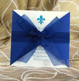 Wholesale Deep blue european style invitations wedding creative wedding invitations high end custom invitations Korean invitation card