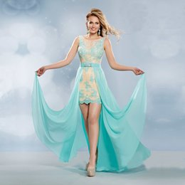 Wholesale 2016 Two Piece Prom Dresses vestido de festa Cheap Sexy Aqua Chiffon Long Prom Dress Elegant Champagne Lace vestidos de baile