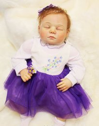 Wholesale 100 handmade real doll reborn quot silicone reborn babies with Violet skirt high quality children bebe gift reborn dolls
