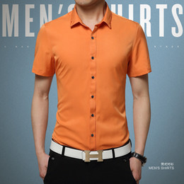 Wholesale New Men s Silk Shirt Summer Fashion Slim Plus Size Non Ironing Short Sleeve Business Casual Shirts For Men