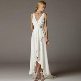 Wholesale Greek Wedding Dress Beach Simple Deep V neck Empire Waist with Sash Belt High Low Bridal Gowns Ivory Goddess Grecian Style Bride Dress
