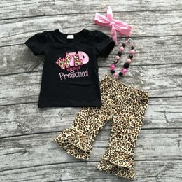 Wholesale 2016 Summer back to school outfit girls cute clothes black leopard preschool kids capris set baby kids with accessories