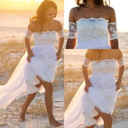 Wholesale 2016 New Boho Wedding Dresses Cheap With Appliques Off Shoulder Short Sleeves Backless White Bohemian Wedding Bridal Gowns Custom Made
