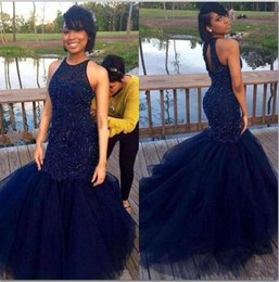 Wholesale 2016 New Navy Blue Mermaid Heavily Beaded Black Girls Prom Dresses High Neck Open Back Tulle Teens Evening Party Dresses