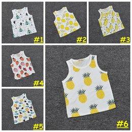 Wholesale 2016 Newest Baby cute INS vest Kids strawberry pineapple fruit print vest BOY GIRL summer cool tees styles choose