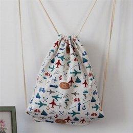 Discount airplane panel 2016 hot fashion women shoulder bag c030 original color cotton drawstring backpack cartoon airplane pattern Free shipping