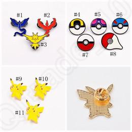 Broche empuje Pikachu historieta Pokeball insignia Zinic aleación de figuras de acción de juguete animado Chrismas regalo 11 estilos OOA801