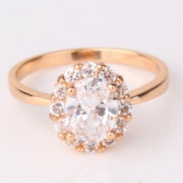 2016 fashion large oval crystal finger ring for women 18k gold plated rings big cubic zirconia wedding engagement jewelry r164 - Large Wedding Rings