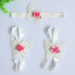 online shopping Three Pieces Set Newborn Baby Colorful Foot Flower Barefoot Sandals Butterfly Headband Set Infants Girl Baby Photo Prop a2