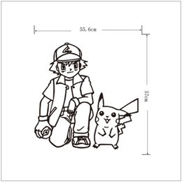 Poke Wall Sticker Ash Ketchum And Pikachu Cartoon Sickers Black White Sketch Stickers 56 57cm For Kids Room Decor T403