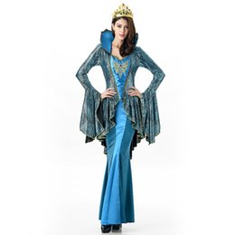 Wholesale 2016 New Greek Goddess Blue Dress Sexy Cosplay Halloween Costumes Uniform Temptation Club Luxury Party Clothing Hot Selling