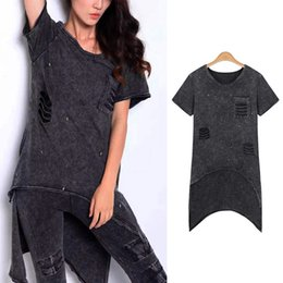 Wholesale Hot Sale Summer Women T Shirt O neck Punk Rock Style Ladies Tops Hollow Out Design Woman Clothes Short Sleeves Loose Shirts XD0289 kevinstyl