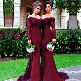 Wholesale Burgundy Long Sleeve Mermaid Bridesmaid Dresses Cheap Arabic Vintage Lace Sheer Beaded Sequin Vestido De Festa