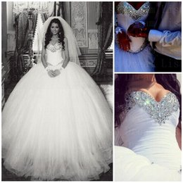 Wholesale 2016 New Sweetheart Tulle Ball Gown Wedding Dresses Crystals Beaded Top uffles Floor Length Bridal Gowns