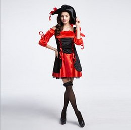 Wholesale 2017 New Arrival Adult Luxury Red Black Women Pirate Dress Sexy Cosplay Costumes d Halloween Uniform Temptation Stage Performance Clothing