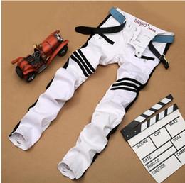 Wholesale 2017 nueva manera de la caída blanco impreso jeans para hombres de alta calidad elásticas Vaqueros ajustados pantalones ocasionales de los hombres de la ropa vaquera para hombre Plus En general NXX138 Tamaño