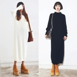 Wholesale Korean Stylenanda Black White Turtleneck Sweater Dress Slim Fit Knitted Pullover Long Sweater Autumn Winter Casual Maxi Coats