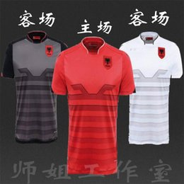 Wholesale Thai version Albania white away soccer jerseys new Albania jersey red cana rama men black T shirt