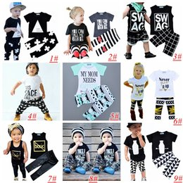 Kids Ins Clothing Sets Baby Fashion Suits Girls Letter T-Shirt & Pants Infant Casual Outfits Boys Ins Tops & Harem Pants 9styles choose 1-5T from 1' months baby manufacturers
