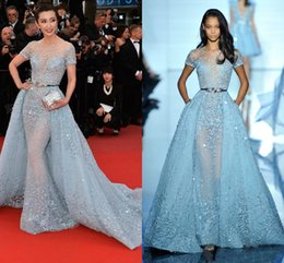 Wholesale 2017 Light Sky Blue Sexy Zuhair Murad Overskirts Evening Dresses Sheer Neck Jewel Applique Beads Lace Poet Short Sleeves Celebrity Gowns