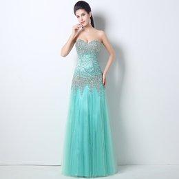 Wholesale Senhoras formal smoking elegante sexy azul beadings lantejoulas formal vestidos de noite querida sirene celebridade vestidos vestido zip up QW708