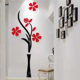 New Beautiful Design Red The Plum Flower Vase Acrylic Art Sticker 3d Wall Stickers Diy Home Decor B C Type