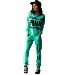 Wholesale Print Leopard Letter Love Pink Jogging Suits for Women Brand Tracksuit Womens Sports Tracksuits Sweatshirt Pants Set