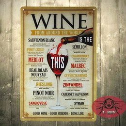 Discount Home Wine Bar Decor Wine From Around The World Tin Signs Home Decor House Cafe