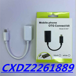 Discount huawei phone otg 10cm MICRO v8 android USB OTG smart connection kit for cell phone SAMSUNG HTC HUAWEI SONY black and white color with green box
