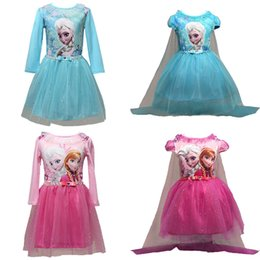 Wholesale Prettybaby girls frozen dresses styles Elsa Anna printing lace tutu dress kids sequins princess party cosplay costume Pt0488