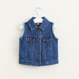 Wholesale New Kids Girls Ripped Design Denim Waistcoats Fall Winter Pockets Vintage Jackets Vests Fashion Kids Clothing