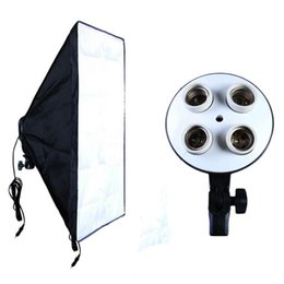 Photographic Equipment Photo Studio Portable Soft Box Kit Video Four Socket Lamp Holder+50*70cm Softbox Photo Light Box from light box studios manufacturers