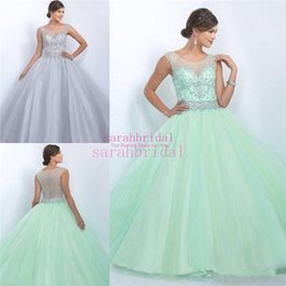 Wholesale Cheap Sheer Tulle Crew Neck Illusion Bodice Beaded Quinceanera Dresses Special Occasion Ball Prom Gowns for Miss USA Teen Sale Vestidos