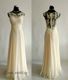 Prom Dress Cream Chiffon Online - Prom Dress Cream Chiffon for Sale