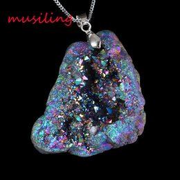 online shopping musiling Jewelry Natural Gem Stone Pendants Necklace Chain Pendulum Crystal Geode Druzy Magic Stone Charms Fashion Men Jewelry
