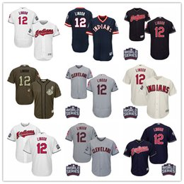 Remolque de la Serie Mundial 2016 Cleveland Indians # 12 Francisco Lindor Gris Gris Blanco Rojo Azul 1976 Pull Down Verde Majestuoso MLB Baseball Jerseys