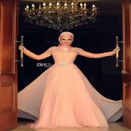 Wholesale Muslim Evening Dresses Long Sleeves Hight Neck Abaya kaftan Prom Dress hijab for Muslim Women Peach Chiffon Dubai Arabic