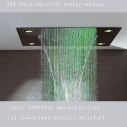 Top design 5 star internation hotel use 600*800 4-function luxury bathroom  led lighting showers head 160305#