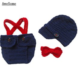 Wholesale Super Cool Little Man Suit Handmade Crochet Baby Boy Girl Blue Gentleman Hat Diaper Cover with Suspenders and Bow Tie Infant Photo Prop