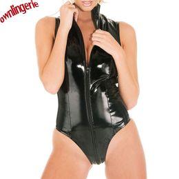 Wholesale Sexy Black Women Erotic Thong Jumpsuit PVC Faux Leather Catsuit Stripper Pole Leotard Skeleton Bodysuit Club Zip Crotch XXL