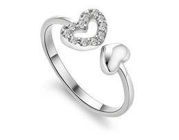 top quality new latest design heart shaped shape 925 silver rings for women fashion mosaic crystal diamond jewelry brand designer