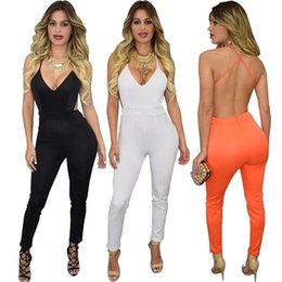Wholesale PrettyBaby Hot sale European Style Fashion Sexy Slim Tight Women Backless Jumpsuits Nightclub Casual pants Lady clothes