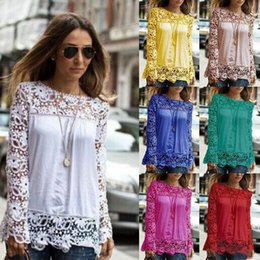 Wholesale 5XL large size Fashion Women Lace long Sleeve Chiffon Blouses Shirt Crochet blusa Tops blusas femininas camisa XXL