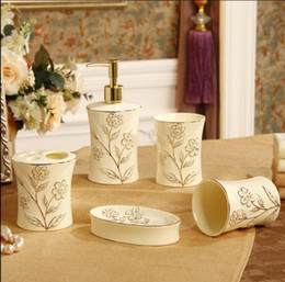 Ceramic Bathroom Accessories Elegant 5 Pieces Bathroom Sets 1 Soap Bottle 1 Soap Dish 1toothbrush Holder 2 Cups